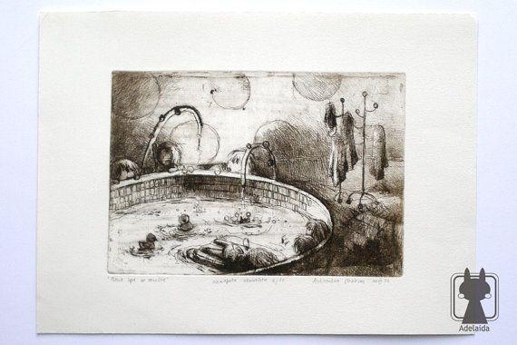 Originale carta di inchiostro e crème opera tradizionale di stampa - acquaforte - marrone