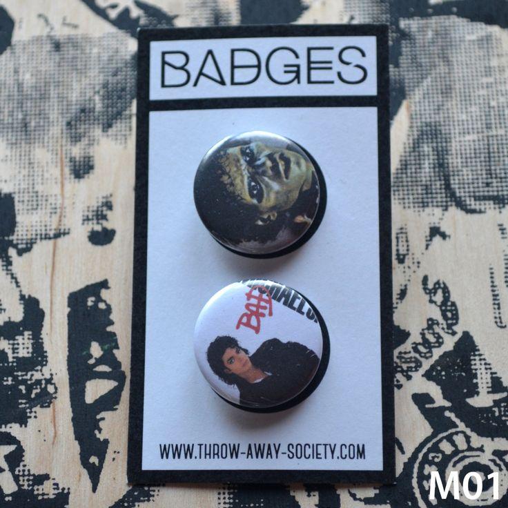 Set mit 2 Michael Jackson Buttons Pin Badges 25mm 1inch Badge Button Thriller Halloween Bad Taste Trash King of Pop von ThrowAwaySocietyShop auf Etsy