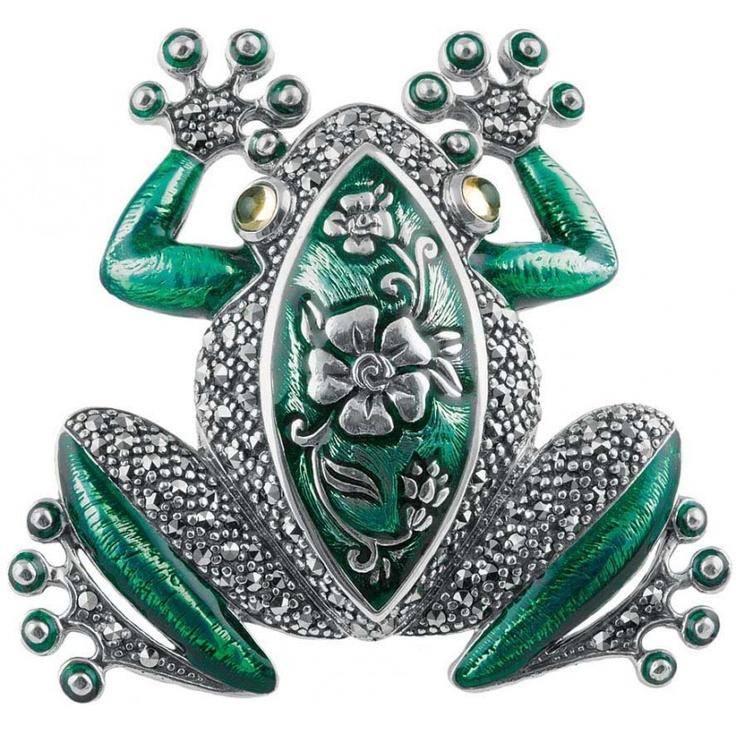 Sterling Silver Art Nouveau Frog Brooch