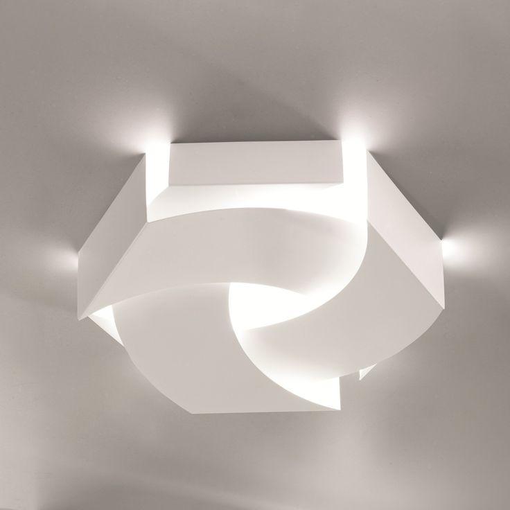 Lampada da soffitto in metallo Wool con paralume in metallo verniciato bianco