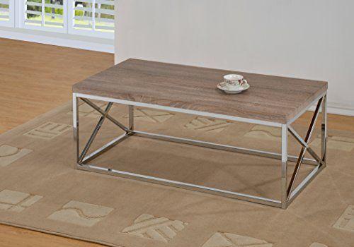 Best Reclaimed Look Chrome Metal Cocktail Coffee Table Dark 400 x 300