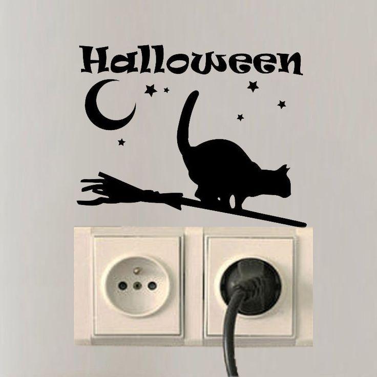 Хэллоуин Кошка Стены Таблички Виниловые Луны Переключатель Наклейки Спальня Декор A3187 купить на AliExpress