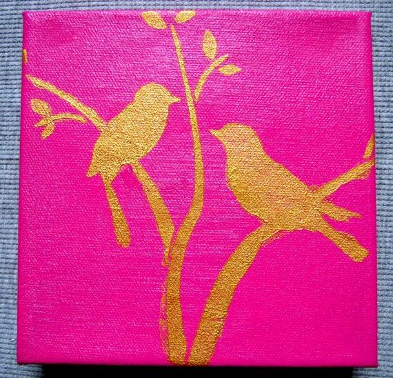 PUT A BIRD On It Small Cute Fun Painting Art Artwork Modern Pop Animal Childrens Canvas