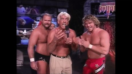 Ric Flair, Arn Anderson and Brian Pillman funny WCW wrestling gif