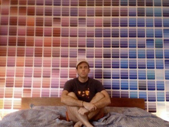 Paint chip sample wall. Love it!
