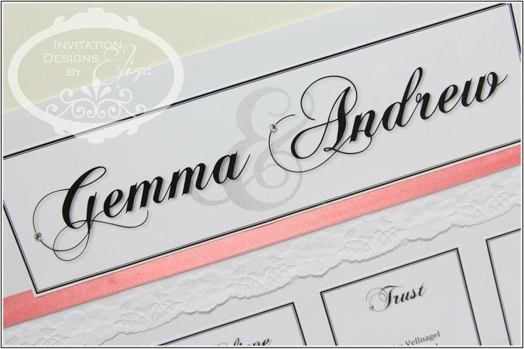 Seating Plan Chart Design {Wedding} Coral,Black & White Theme www.facebook.com/InvitationDesignsByEliza