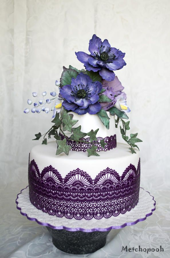 Anemone cake for 55-th birthday - Cake by Silvia
