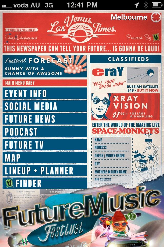 Future Music Festival 2012 iPhone / Android App @futureentaus