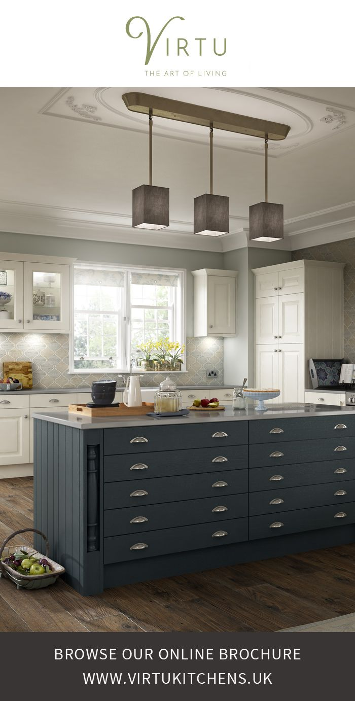 By combining HERITAGE painted doors & drawers with different styles of handles, feature doors, decorative pillars and cornices you can achieve a truly classic look. #VirtuKitchens