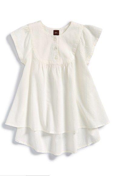 Tea Collection 'Heritage Stripe' Flutter Sleeve Cotton Top (Toddler Girls, Little Girls & Big Girls) available at #Nordstrom