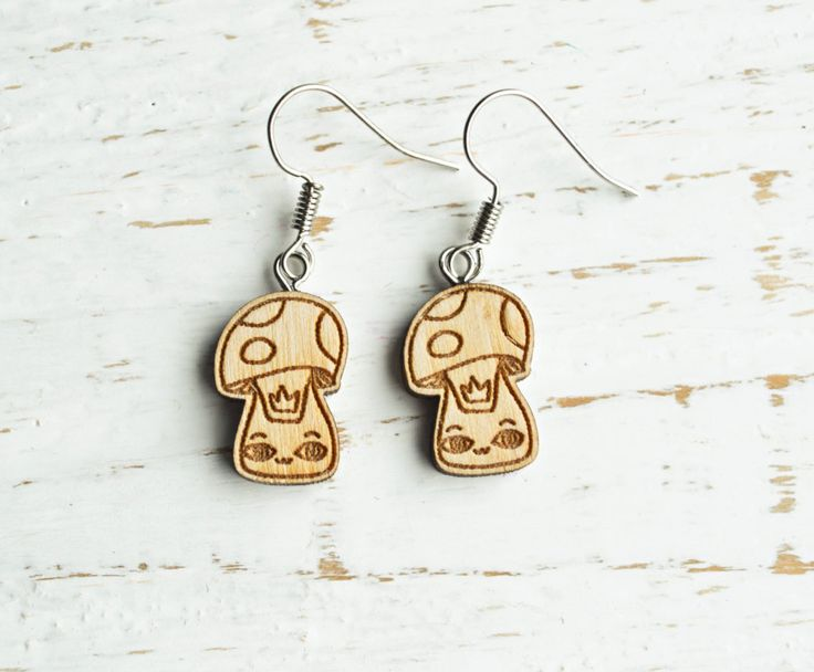 "Wooden Earrings ""Mushroom Cat"", Stud wooden Earrings, Cute Wooden Earrings, Dangle and Drop wooden earrings by WaterFallWorkshop on Etsy"