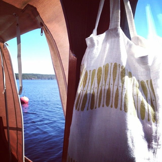 Boating. Lake Saimaa, Sulkava, Finland. Airo (Oar) tote bag by Aapiste, 100 % linen.