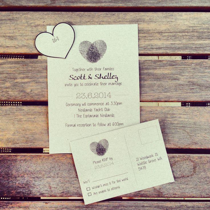 Fingerprint heart design wedding set - invite, name tag and RSVP card.