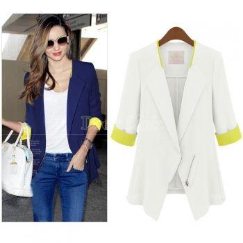 Women OL Office Slim Half Sleeve Coat Jacket Suits Blazers