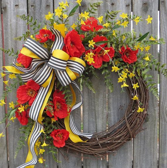 Poppy Door Wreath - Door Wreath with Red Poppies, Summer Wreath, Red, Black, and Yellow, Ticking Bow, Etsy Wreath, HornsHandmade