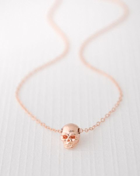 Rose Gold Skull Necklace - tiny detailed skull looks great alone or layered with other necklaces. By Olive Yew.