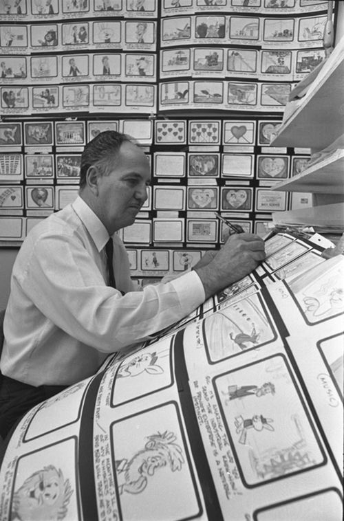 Hanna-Barbera production supervisor Carl Urbano working on a storyboard, 1967.