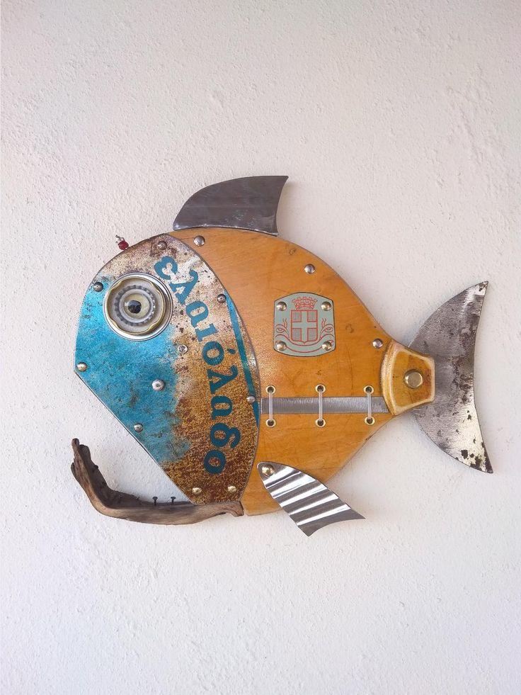 Fish sculpturefish wall artbass fishsteampunk fish beach