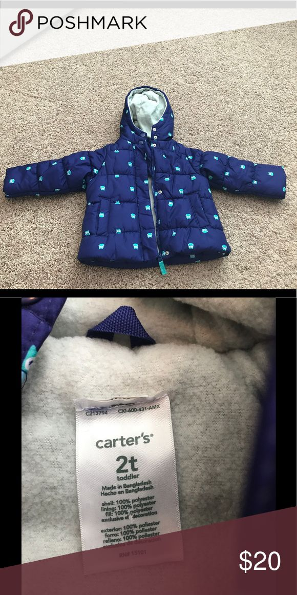 NWOT Carter's Blue Puffer Toddler Jacket NWOT Carter's Blue Puffer Toddler Jacket accented with cute little owls and is fleece lined for extra warmth. Jacket never worn, but tags were removed. No trades please. Open to all reasonable offers. Carter's Jackets & Coats Puffers