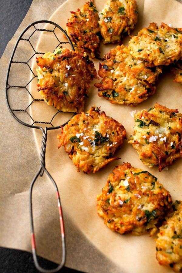 Recipe: Celery root-parsnip latkes || Photo: Andrew Scrivani for The New York Times