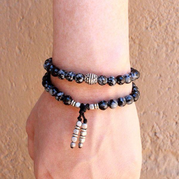 Obsydian gemstone 54 bead wrap mala bracelet by #lovepray #jewelry