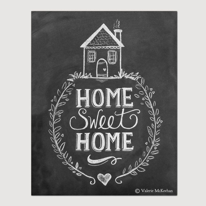 "My ""Home Sweet Home"" print features whimsical hand lettering and a quirky cottage illustration.   This listing is for an 11"" x 14"" Print of Valerie's original hand drawn chalk art. The image is professionally printed on Epson's enhanced matte archival paper.   (Copyright will not appear on your print.) ♥ Framing & Displaying Tips:  Lily & Val prints will bring the rustic charm of chalkboard art to your space - minus the dust! To provide the most realistic chalkboard appearance, prints ..."
