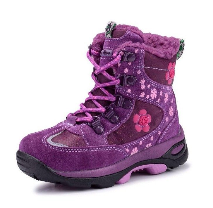 Outdoor Girls Winter shoes Kids Waterproof Shoes embroider Children snow boots Genuine leather fashion princess Boots Size 26-31 alishoppbrasil