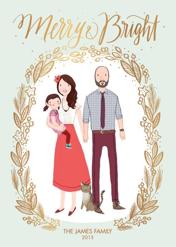 Custom Illustrated Family Portrait Christmas Holiday Card - Digital File