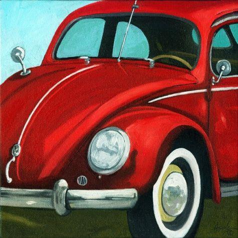Classic Vintage VW Bug - Vintage car, painting by artist Linda Apple