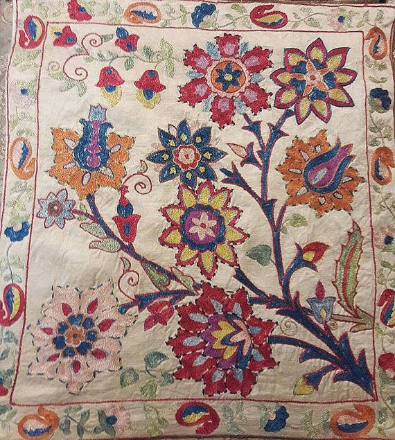 Hand Embroidered Silk on Silk Suzani Pillow by SuzaniUzbekistan