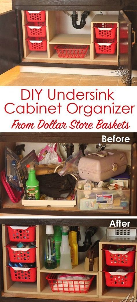 From a single sheet of plywood and some dollar store bins she built this fabulous organizer. What a great way to use all that awkward space under the sink! Undersink Cabinet Organizer with Pull Out Baskets. via http://TheKimSixFix.com