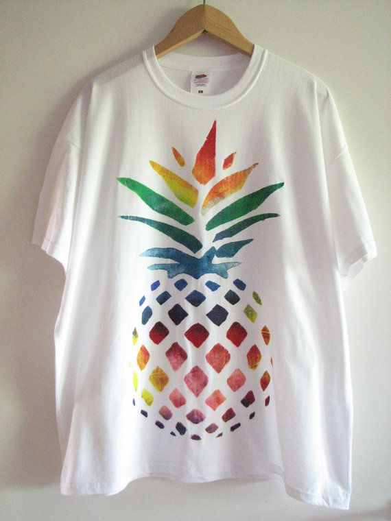 Hand painted t-shirt with rainbow pineapple design - love this! You could easily recreate this look with fabric paint and a stencil.