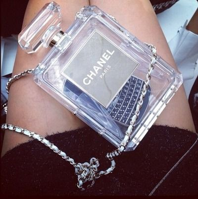 Chanel No. 5 Clutch Bag perfume bottle handbag purse, lucite clear