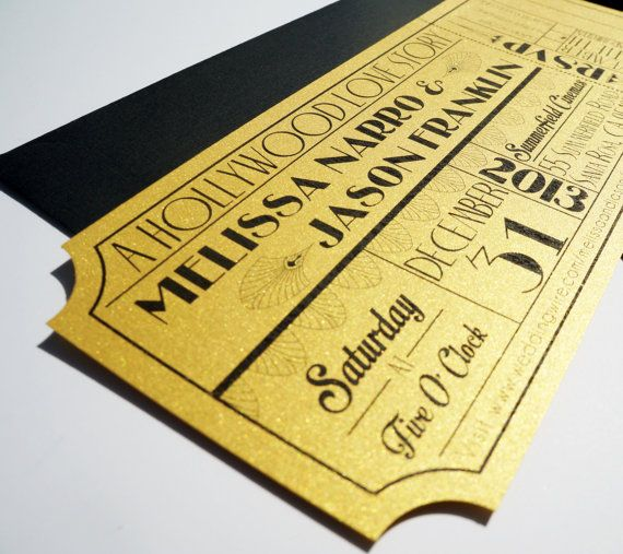 This unique invitation is made to look like a vintage old hollywood movie ticket or theatre ticket with an art deco theme. Printed on a very thick 110lb metallic gold cover stock and with a tear-away RSVP, this invitation is bound to leave your wedding guests stunned and thrilled for the wedding of a lifetime.  This wedding invitation set comes with: - 8.5 x 3.66 Wedding Invitation - #10 Black Linen Policy Envelope - 3 5/8 x 5 1/8, (4Bar) RSVP Envelope  This invitation is a high quality…