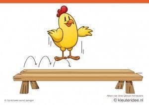 Bewegingskaarten kip voor kleuters 6, op de bank vooruit springen , kleuteridee.nl , thema Lente, Movementcards for preschool, free printab...