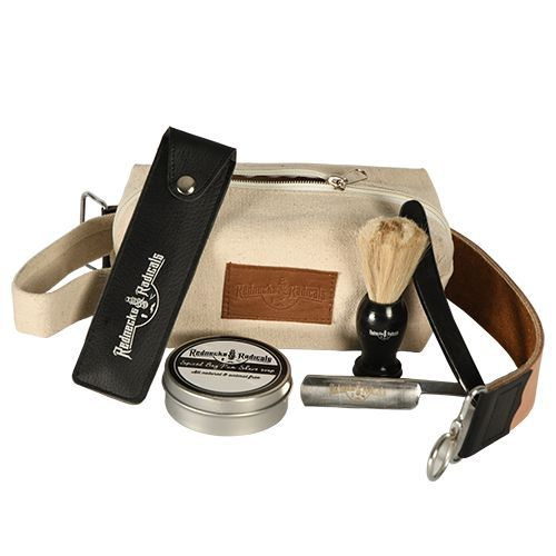 Rednecks And Radicals  Old School Shave Kit  $80.00   Get a close shave with no bumps, makes a great gift for fathers and groomsmen! Razor, brush, balm