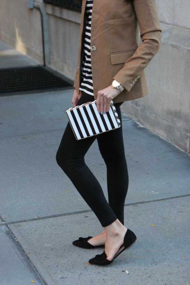 MariaOnPoint | Double Stripes @jcrew regent blazer, oversized striped turtleneck, tassel flats #fallfashion