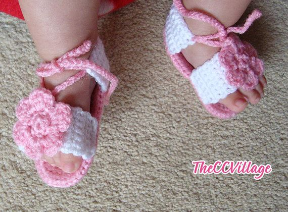 White Baby Girl Sandals Crochet, handmade crocheted baby shoes pink and white with flower