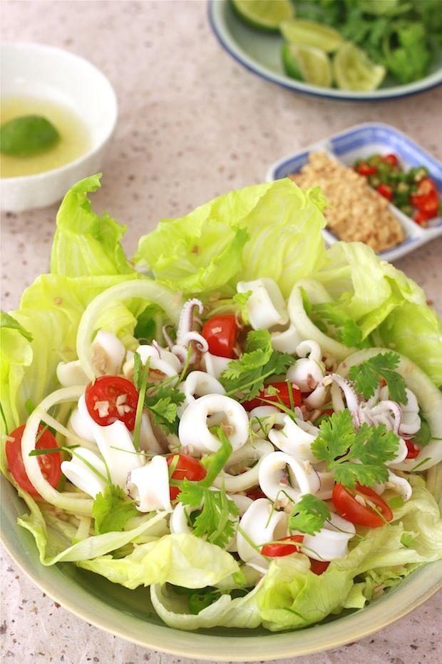 Thai Squid Salad with Spicy Lime Dressing: Calamari Recipes, Limes Dresses, Seafood Recipes, Salad Recipes, Spicy Limes, Gingers Lim Dresses, Calamari Salad, Squid Salad, Thai Squid