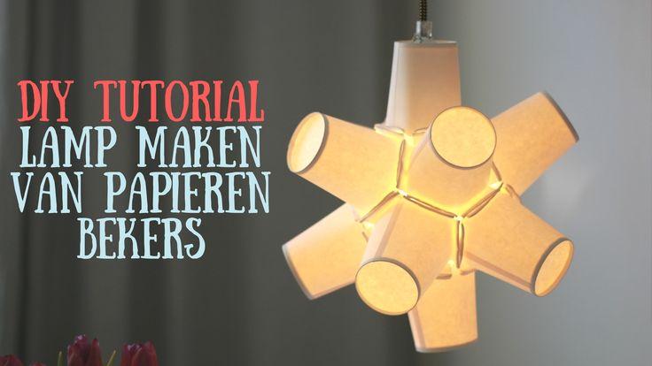Lamp maken van papieren bekers - DIY tutorial (met instructievideo)