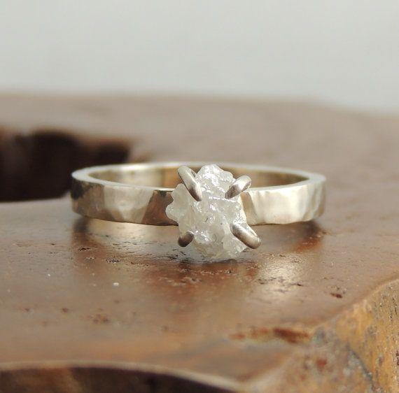 Uncut Diamond 14k White Gold Ring, Rough Diamond Ring,  Prong Set Rough Diamond Ring, Uncut Diamond Ring, Raw Diamond Ring