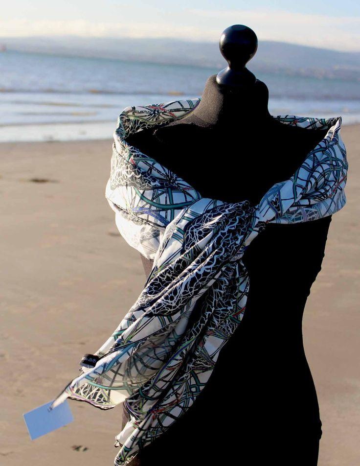 Juggling wheels silk scarf - Rita White