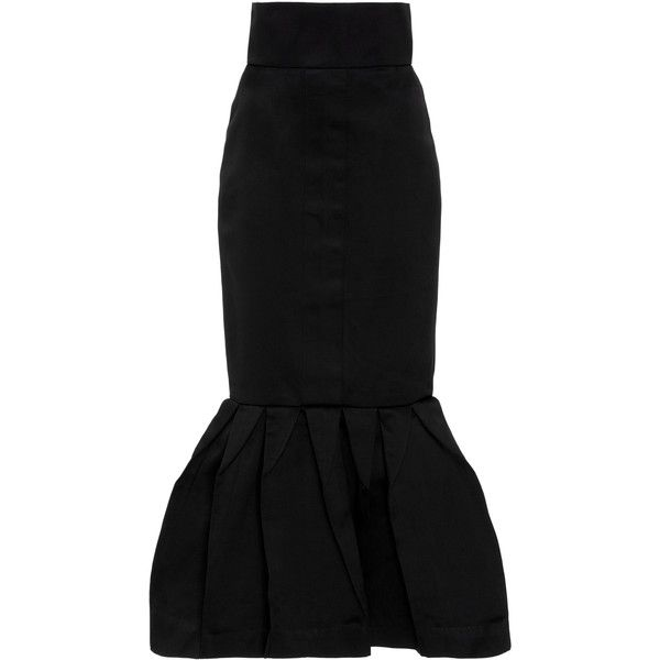 Leal Daccarett Magia Dual Satin Skirt ($1,975) ❤ liked on Polyvore featuring skirts, black, high-waisted midi skirts, high-waist skirt, high waisted knee length skirt, calf length skirts and midi skirt