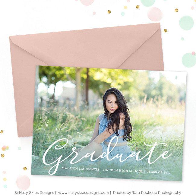 Senior Graduation Invitation Template, Senior Graduation Announcement Template for Photographers, High School Graduation Invitation GD158 by hazyskiesdesigns on Etsy https://www.etsy.com/listing/511897557/senior-graduation-invitation-template