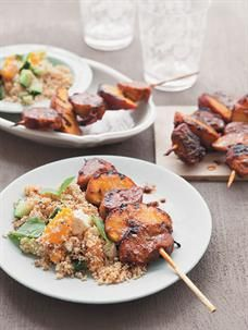 Pork and peach kebabs with peach and cucumber couscous salad