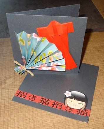 carte japon ventail et kimono en origami cartes. Black Bedroom Furniture Sets. Home Design Ideas