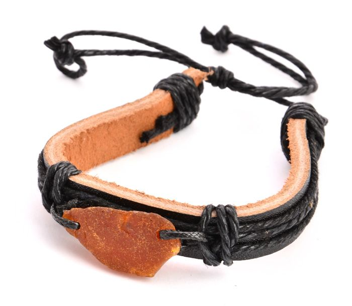Bransoleta męska - rzemyk + bursztyn. Mens bracelet - amber and black leather.