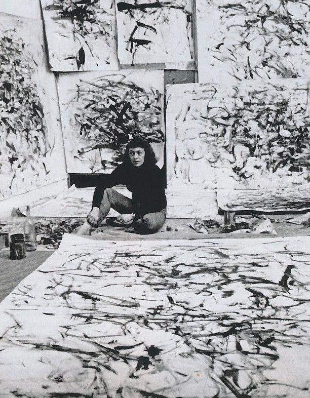 Joan Mitchell in a Paris studio, 1957