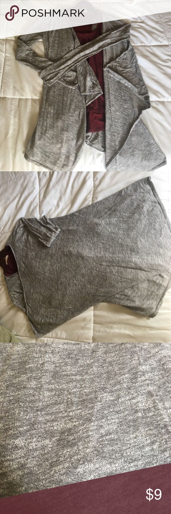 Grey long sleeve top. Lightweight very comfortable longsleeve soft angled front adorable with a small belt or have for a chilly night lola Sweaters Shrugs & Ponchos