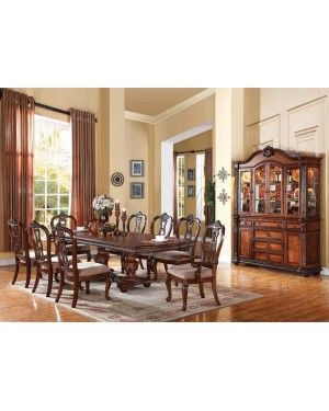 acme nathaneal traditional tobacco cherry finish decorative dining room set